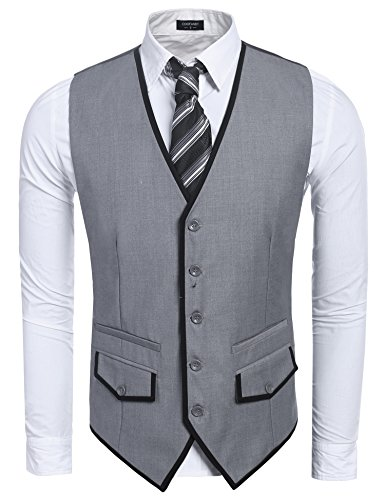tons Casual Skinny Business Suit Vest Waistcoat,Gray,Medium (Five Button Suit Vest)