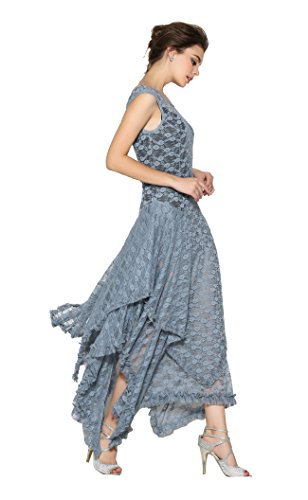 Lace Party Grey Asymmetric Hem Women's Backless Allover Dress 7TwqZT5vx