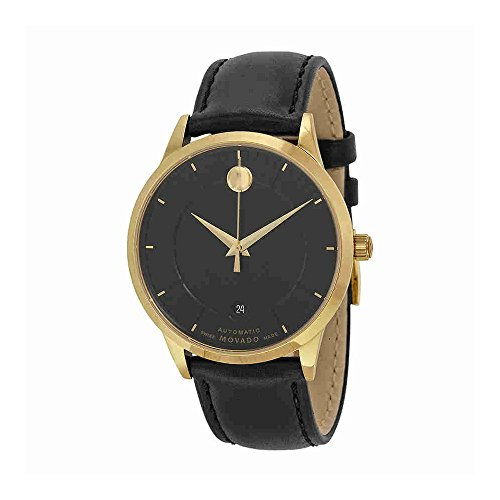 Black Leather Band For  Men's1881 Automatic Watch Models: 0606873, 0606874 - Movado 0606875