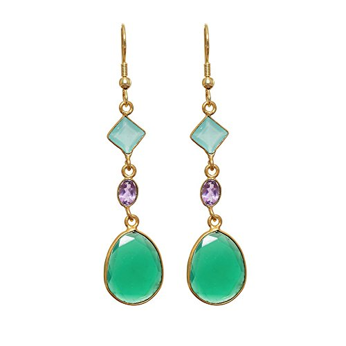 Natural Green Onyx Amethyst Aqua gemstone earring