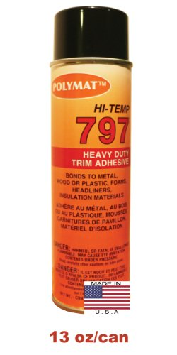 1 20oz Can (13oz net) Polymat 797 Hi-Temp Spray Glue Adhesive: Industrial Grade High Temperature Glue, Heat and Water Resistant Spray Adhesive for Automotive Headliner, Marine Upholstery Glue (Hi Temp Spray Glue)