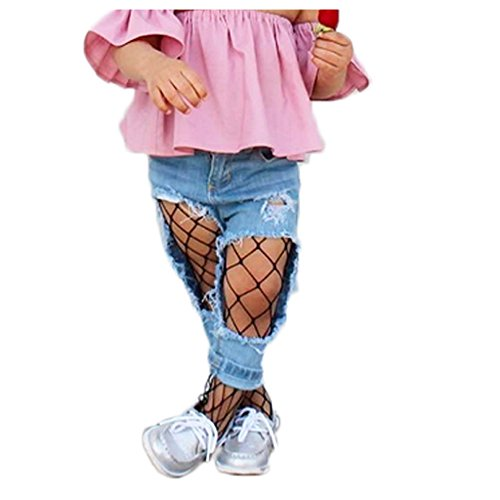Children Little Girls Hollow Out Fishnet Pantyhose Tights Leggings 1 Pair (Black-Big -