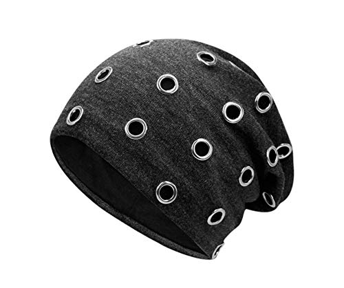 SINXE Unisex Winter Thermal Punk Style Hat Beanies Skullies with Metal Rings Hip Hop Casual Caps for Heads