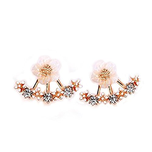 2PCS Rose Gold Crystal Stud Earrings for Women Korean Imitation Pearl Daisy Flowers Ear Cuff Bridal (Korean Style Earrings)