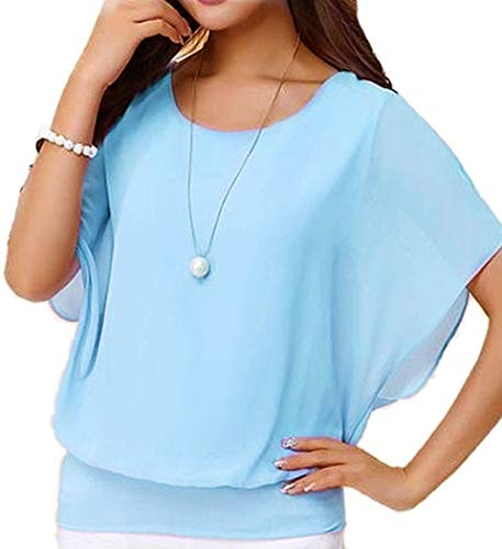 Viishow Women's Loose Casual Short Sleeve Chiffon Top T-Shirt Blouse Light Blue 3XL