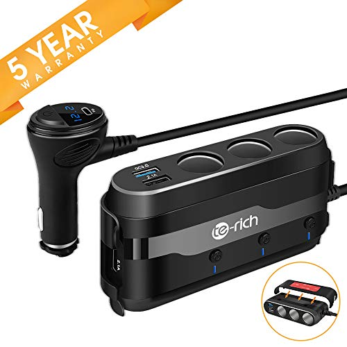 Te-Rich Quick Charge 3.0 & USB C 120W 3-Socket Cigarette Lighter Adapter, 12V/24V Car Power Outlet Splitter Multi Port USB Charger Compatible w/Nexus 6P, Pixel, Galaxy S9/S8/Note 8, iPhone X/8/8 Plus (Car Accessory Splitter)