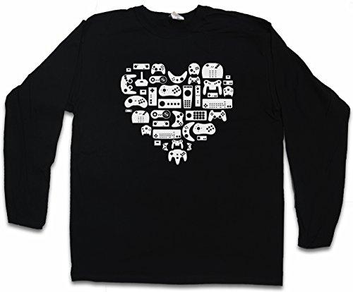 CONTROLLER HEART I LANGARM T-SHIRT - Video Game Konsole NES Evolution Joystick Gamepad Größen S