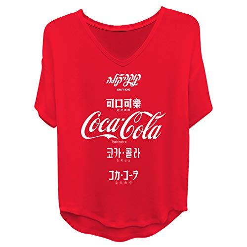 Ladies Coca Cola Fashion Shirt - Coke Classic Logo Contrast Stitch Short Sleeve Tee (Red, Small)
