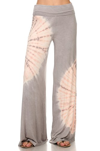 HEYHUN Womens Tie Dye Solid Wide Leg Bottom Boho Hippie Lounge Palazzo Pants - Pink Grey - Medium