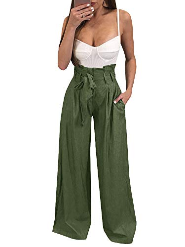 Ybenlow Womens High Waisted Palazzo Pants Wide Leg Stretch Trouser Pant Belted with Pockets ()