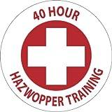 NMC HH108 2'' x 2'' PS Vinyl Hard Hat Emblem w/Legend: ''40 Hour Hazwoper Training'', 12 Packs of 25 pcs