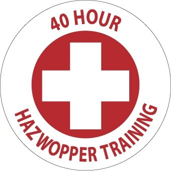 NMC HH108 2'' x 2'' PS Vinyl Hard Hat Emblem w/Legend: ''40 Hour Hazwoper Training'', 12 Packs of 25 pcs