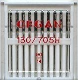 ORGAN DOMESTIC SEWING MACHINE NEEDLES PACK OF 10, SIZE 90/14, WILL FIT, BROTHER, SINGER , JANOME, ETC