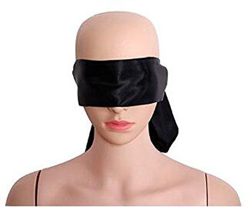 1PCS Black Ribbon Hide And Seek Eye Shade Blindfold Eye Mask Band Blinder Sleep Masks Handcuffs Neck Strap Long Binding Belt For Women Man Couple Covered - Long Fetish Neck