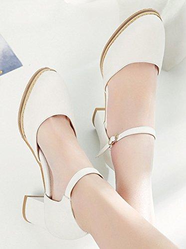 Aisun Simple Mode Féminine Bout Rond Habillé Boucle Chunky Mi-talon Dorsay Sandales Avec Bride À La Cheville Blanc