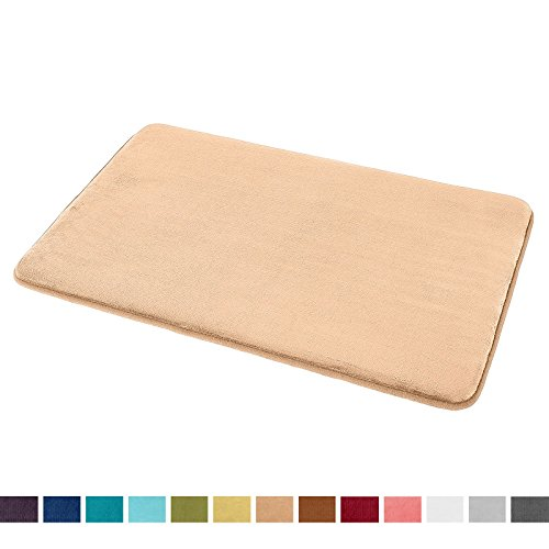 "Clara Slip - Clara Clark Bath Mat Bathroom Rug - Absorbent Memory Foam Bath Rugs - Non-Slip, Thick, Cozy Velvet Feel Microfiber Bathrug, Plush Shower, Toilet Floor Bathmats Carpet - Cream - Large Size 20""x32"""