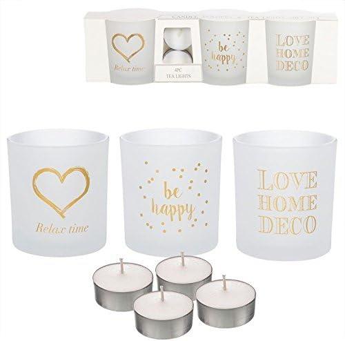 Dcasa - Pack de 3 candeles con 4 Velas de te Frases romanticos ...