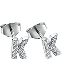 Paialco 925 Sterling Silver Initial A~Z Cubic Zirconia Studs Earrings,Tiny Letters