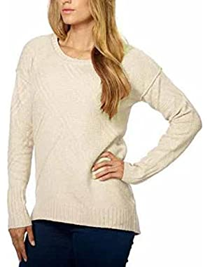 Women's Crew Neck High-Low Hem Pullover Sweater