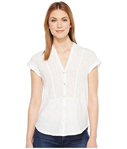Lucky Brand Women's Woven Gauze Mixed Top Lucky White Button-up Shirt