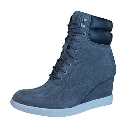Caterpillar Felicity Wedge Heel Womens Suede Ankle Boots / Shoes Grey