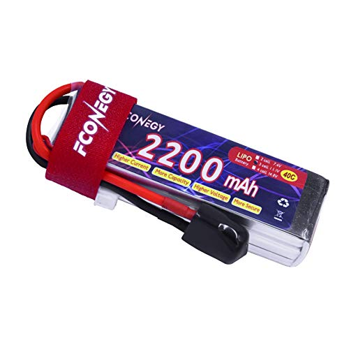 FCONEGY 3S 2200mAh 11.1V 40C Lipo Battery Pack with XT60 Plug for FPV/Quadcopter/Drone/RC Airplane/Helicopter ()