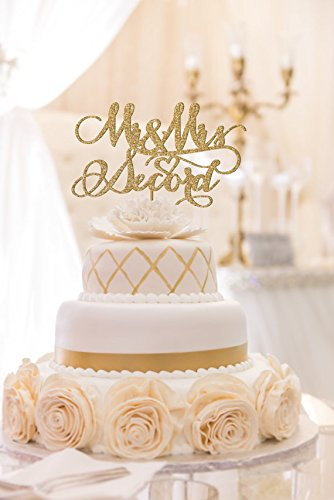 Mr and Mrs Custom Wedding Cake Topper, Yellow Gold, Antique Gold, Rose Gold, Champagne, Silver, Black and Brown Antique Wedding Cake Toppers