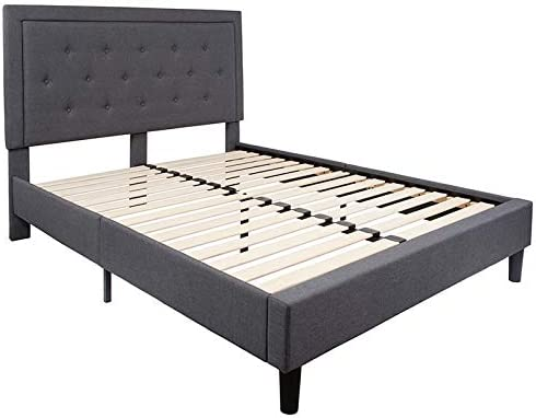 Emma Oliver King Size Panel Tufted Platform Bed in Twin Through King Sizes and Assorted Colors Queen Size, Dark Gray