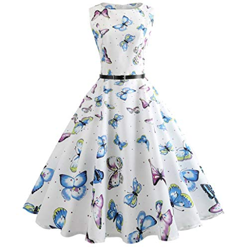 iYBUIA Hepburn Same Butterfly Printing Women Vintage Bodycon Sleeveless Casual Evening Party Prom Swing Dress(White,L)