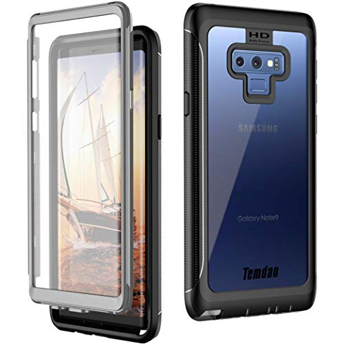 Temdan Samsung Galaxy Note 9 Case, Built in Screen Protector Full Body Protect Case Support Wireless Charging, Heavy Duty Dropproof Shockproof Case for 2018 Samsung Galaxy Note 9