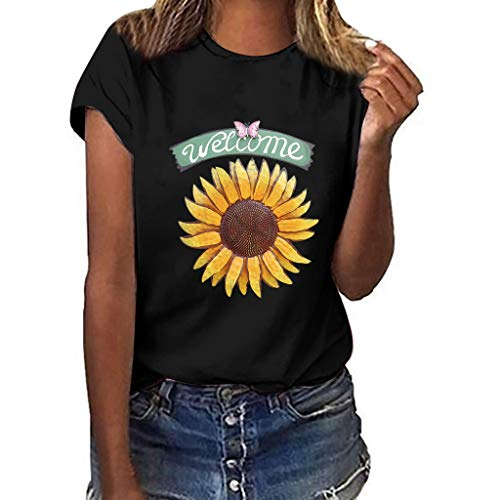 Women T-Shirt Casual Summer Short Sleeve Tee Sunflower Print Loose Fit Blouse Tops (XXXL, Black 4)