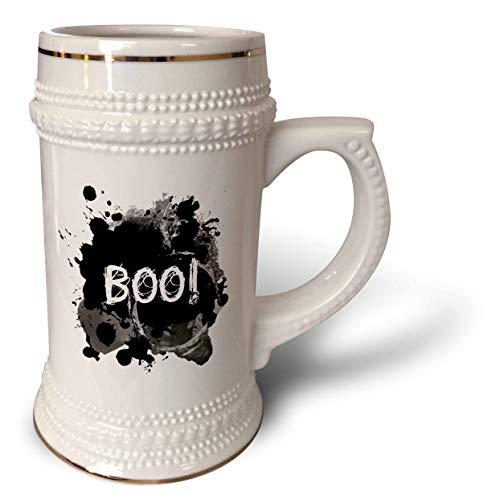3dRose InspirationzStore - Occasions - Boo - scare message text Happy Halloween spooky dark black ink splats - 22oz Stein Mug (stn_317311_1) -