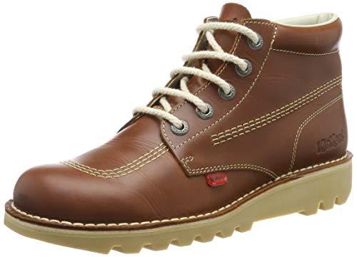 Kickers Mens Tan Kick Hi Leather Boots-UK 9 (Kickers White)