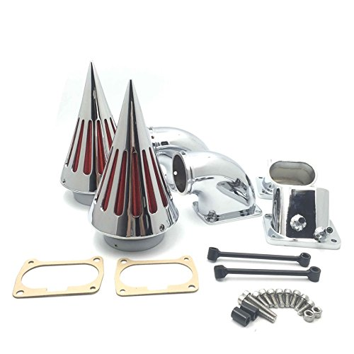 HTT Motorcycle Chrome Billet Aluminum Cone Spike Air Cleaner Kit Intake Filter For Suzuki Boulevard M109 (All (Billet Aluminum Air Cleaner)