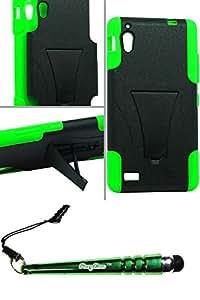 FoxyCase(TM) FREE stylus AND BLU Vivo 4.8 HD D940A Hybrid Case w Stand Green