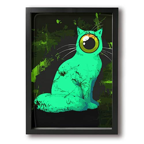 (Rolandrace Weird One-Eyed Cat -Photo Paintings A4 Size Wall Art Contemporary Decorative Giclee Artwork Wall Decor-Wood Frame Ready to Hang)
