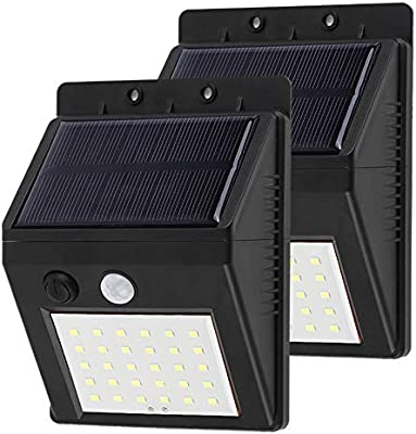 WANGLAI Llight Pared Solar, 30 LED Luces solares Externas, Sensor ...
