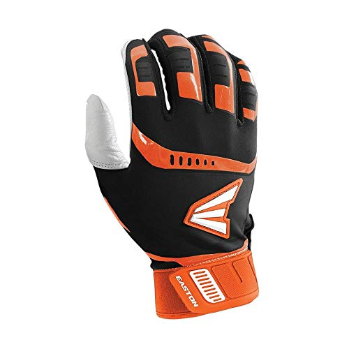 Easton Walk-Off Fast Pitch Batting Glove, Adult, Large, BLACK/ORANGE (Orange And Black Baseball Gloves)