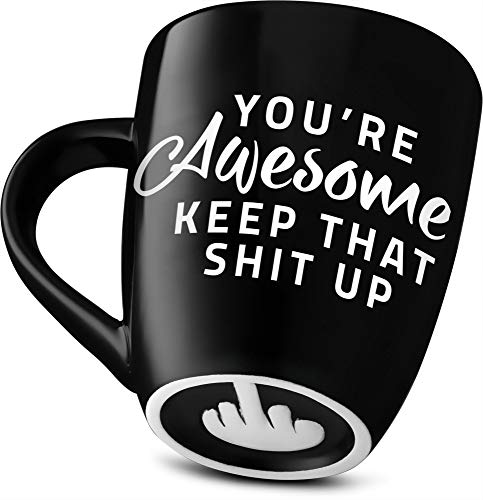 Cheap Novelty Gifts (Decodyne Funny Coffee Mug, with Middle Finger on the Bottom - Funny Gifts Novelty Mugs 14 oz. (You're)