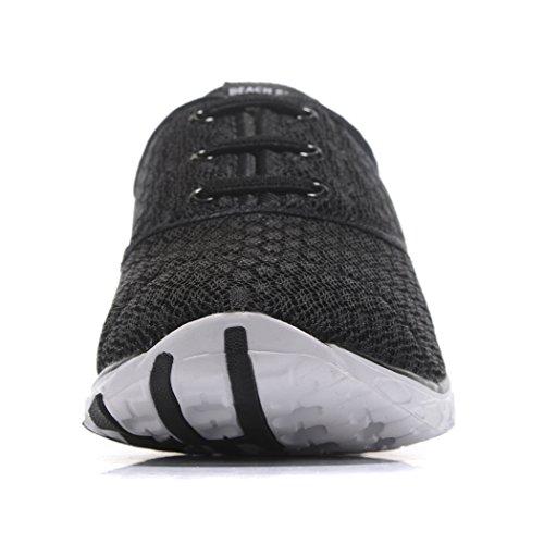 Kenswalk Herren Aqua Wasser Schuhe Leichte, schnelltrocknende Strandschuhe Schwarz und weiß