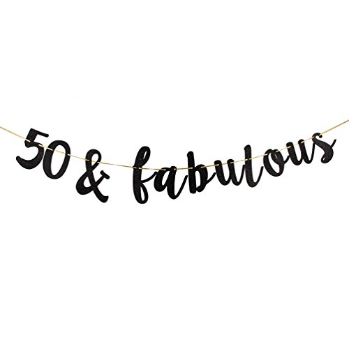 50 & Fabulous Banner, Black Glitter 50th Birthday Party Decoration Sign