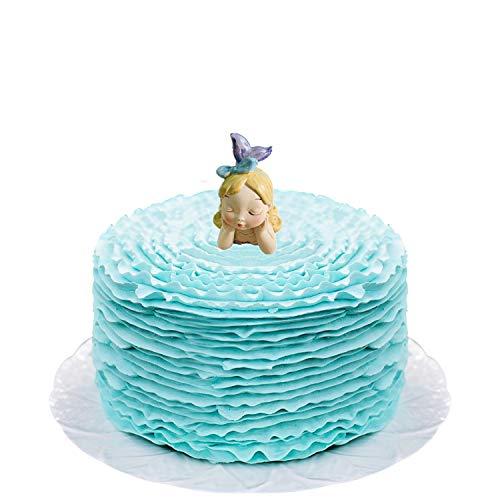 Mermaid Cake Ideas (Komiikka Sleeping Girl Mermaid Cake Topper, The Little Mermaid, Mermaid in Thought Fairy Figurine Cake Topper for Girl Birthday Baby Shower Cake)