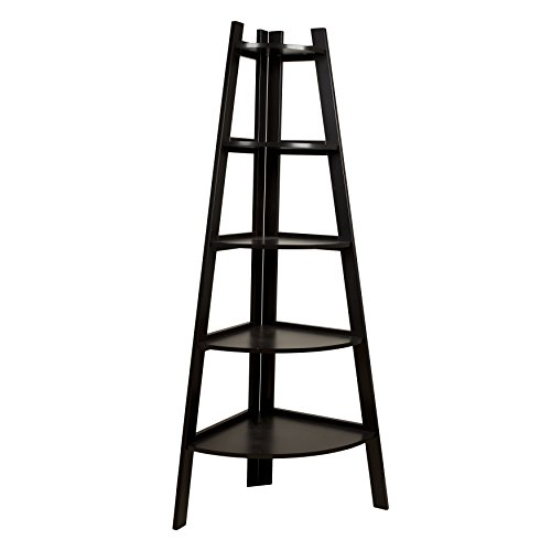 - Danya B. BQ0279 Free-Standing 5-Tier Pyramid Corner Ladder Display Shelving Unit / Bookshelf - Expresso