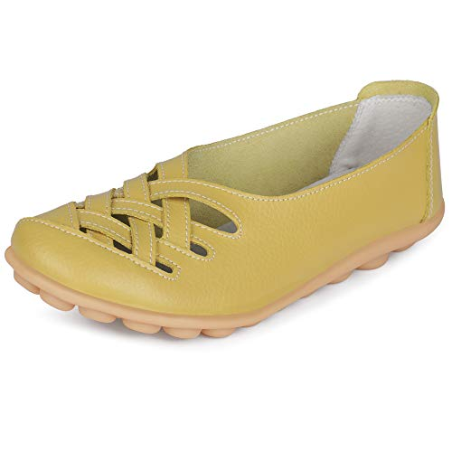 LabatoStyle Women's Leather Casual Cut Out Loafers Moccasin Driving Flats Slip-On Shoes (9 B(M) US, Light Green-A)