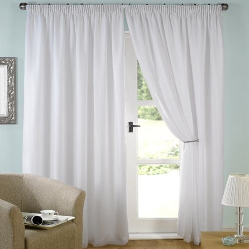 Curtains Ideas 220 drop curtains : Luxury White Lined Voile Curtains 66