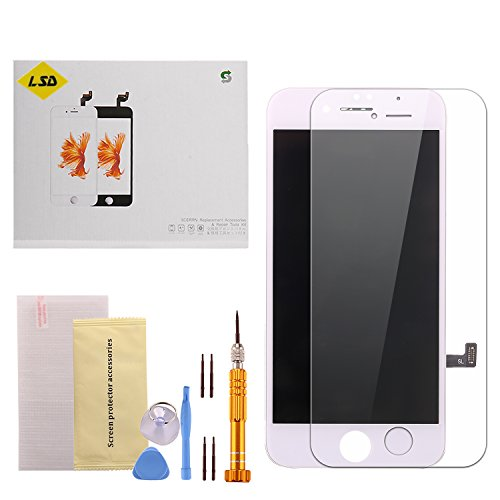 Lcd Repair Replacement (LSD iPhone 7 Screen Replacement LCD Screen Touch Digitizer Display Frame Assembly Replacement Parts Kit and Repair Tools for iPhone 7 White 4.7 Inch( Free Super Quality Aluminum Alloy Screwdriver))