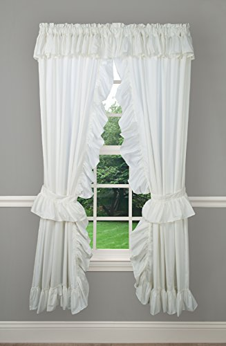 Ellis Curtain Classic Wide Ruffled Prisilla Pair with Ties, 80