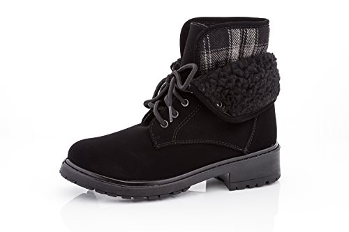 Rasolli Womens Lace Shearling Cuff Fold Over Lace up Ankle Boots Booties Black Size 11
