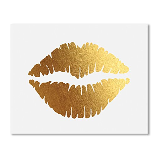 Lips Gold Foil Print Poster Decor Wall Art Kiss Love Makeup Fashion Girl Room Nursery 5 inches x 7 inches ()