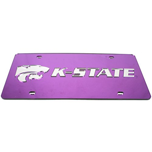 Kansas State Inlaid Acrylic License Plate - Silver Mirror Background